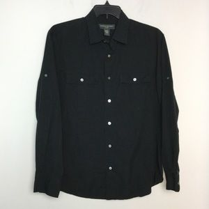 Banana Republic L Shirt Casual Button Front Black